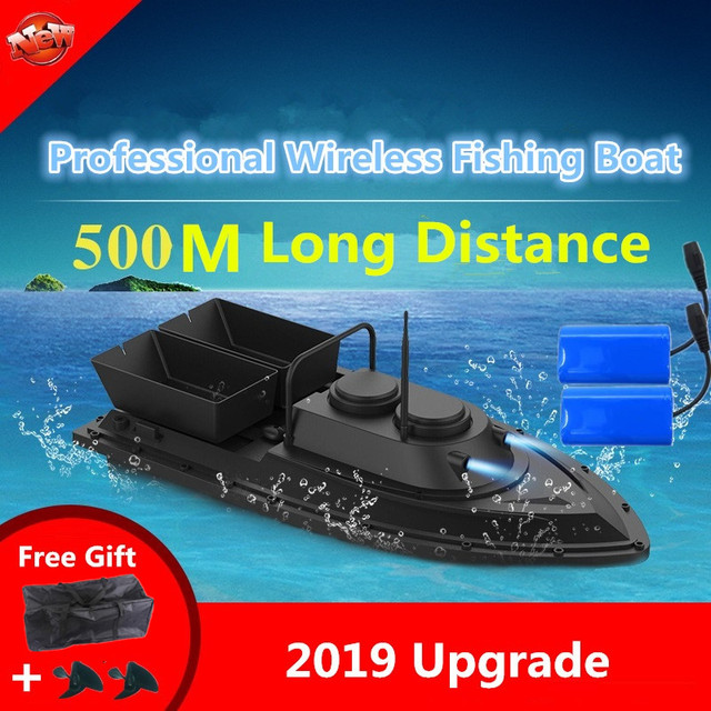 Большая двойная Воронка с умным беспроводным управлением, радиоуправляемая лодка наживка, 2,4G 55 см, 500 м, дальний двойной светильник, высокоскоростная радиоуправляемая приманка, рыболовная лодка