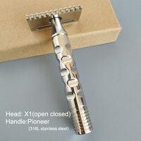 Dscosmetico X1 pettine cpen per rasoio di sicurezza a doppio bordo in acciaio inossidabile 316L per rasatura a umido da uomo
