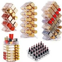 Lipstick Holder Make-up Organizer Cosmetic Storage Box Lip Gloss Storage Rotating Display Stand Transparent Plastic Storage Box