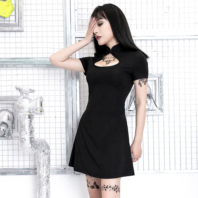 2020 Chinese Party Dress Chinese Dress Sexy Cheongsam Bodycon Gothic Satin Hollow Out Qipao Cheongsam Chinese Vintage Style