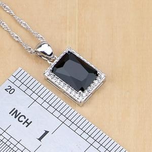 Image 3 - Square 925 Silver Jewelry Black Zircon White CZ Jewelry Sets For Women Earrings/Pendant/Necklace/Rings/Bracelet
