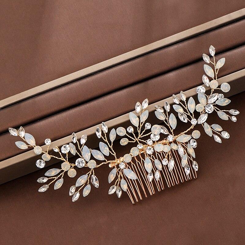Trendy Gold Rhinestone Crystal Wedding Hair Comb tiara Bridal Hair Accessories Women Wedding Hair Jewelry Headpiece Handmade