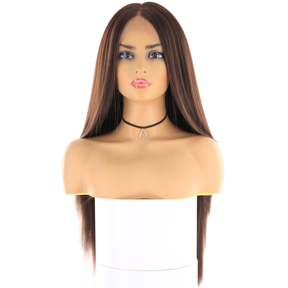 Image 2 - Yaki Straight Synthetic Lace Front Wigs For Women Brown Black Color Hairpiece With Natural Hairline Heat Resistant Fiber X TRESSSynthetic Lace Wigs   -