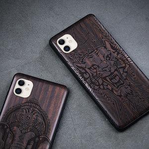 Image 5 - ブラックウッド11プロケースiphone 11プロマックスケース木製se 2020カバーtpu coque iphone 7 8プラスx xr xs 11プロマックスfunda
