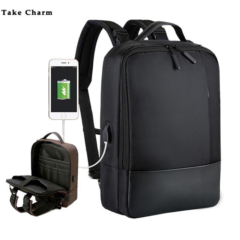 Multifunction Business Men Waterproof Computer Backpack USB Charging Travel Backpack Portable Women Laptop Backpack Black