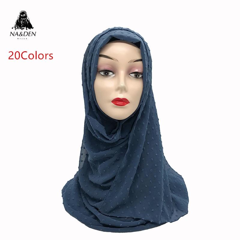 1PC Fuzzy Ball Scarf Plain Solid Scarves Fashion Lady's Fashion Wrap Chiffon High Quality Muslim Hijab Women Shawls
