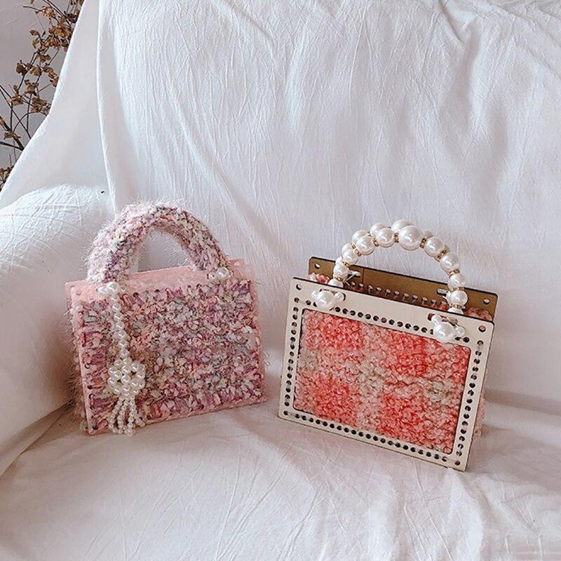Femmes Totes acrylique perle sacs en laine bandoulière sacs à bandoulière rétro perles sacs à main petite chaîne de perles filles dames sacs de soirée