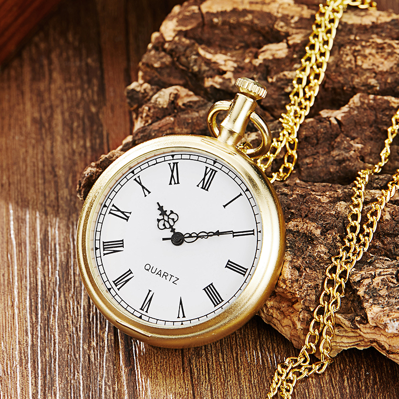 Minimalist Dial Quartz Pocket Watch Simple Roman Numbers Glass Face Golden Case Fob Watches With Chain Necklace For Men & Women