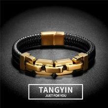 Tangyin tecido couro envolvente estilo especial clássico de aço inoxidável bicicleta locomotiva corrente masculino pulseiras de couro para homem