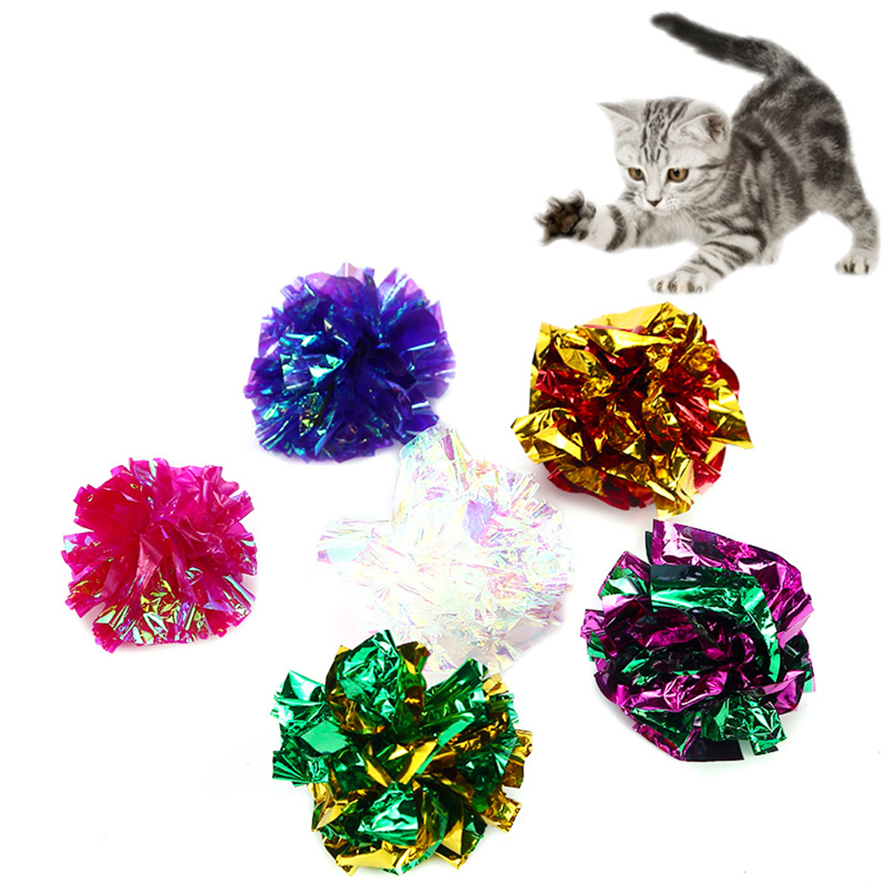 Cat Ring Paper Ball Crumpled Attract Cat Attention Cat Toy Color Paper Ball Cat Toy Pet Supplies 4 5cm Random Colors in Cat Toys from Home Garden