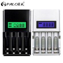 PALO 100% cargador de batería inteligente pantalla LCD, Original, 4 ranuras, AA, AAA, batería recargable, 1,2 V, NI MH, NI CD