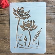 A4 29 * 21cm Lotus flower DIY Stencils Wall Painting Scrapbook Coloring Embossing Album Decorative Paper Card Template,fabric,