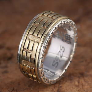 Image 5 - Real 925 Sterling Silver Rings For Men Spinner Rotatable Carving Taiji Bagua Yin Yang With Vintage Great Wall Pattern
