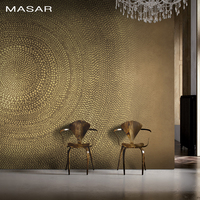 MASAR Brown simple circle mural villa living room background wallpaper simple fashion wallpaper annual ring