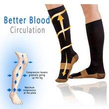 Chaussettes de Compression unisexes en cuivre pour femmes et hommes, 1 paire, Anti-Fatigue, soulagement de la douleur, hauteur du genou, 15-20 mmHg, gradué YS1004