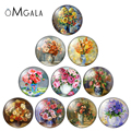 Colorful Flower Oil Painting 12mm/14mm/16mm/18mm/20mm/25mm Round Photo Glass Cabochon Demo Flat Back Making Findings