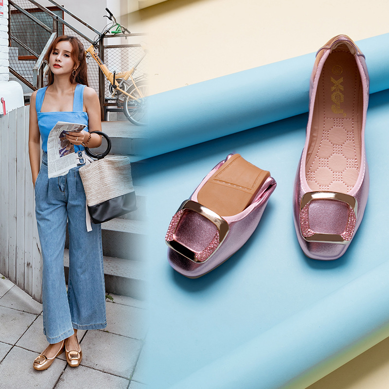Women Flats Boat Shoes Solid Color Square Head Soft Leather Foldable Ballet Shoes High Quality Comfortable Lady Flat Heel Shoes