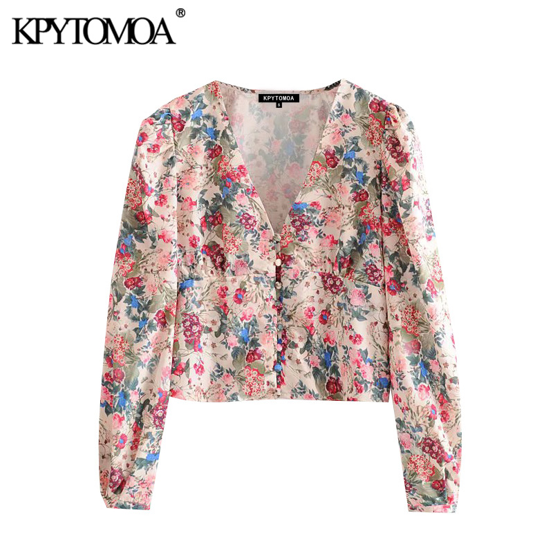 KPYTOMOA Women 2020 Fashion Floral Print Cropped Blouses Vintage V Neck Long Sleeve Female Shirts Blusas Chic Tops