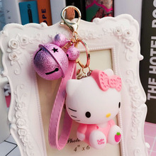 Cute Cartoon Hello Kitty Doll Keychain Ladies Jewelry Fashion Bell Leather Cord Girl Bag Pendant Car Gift