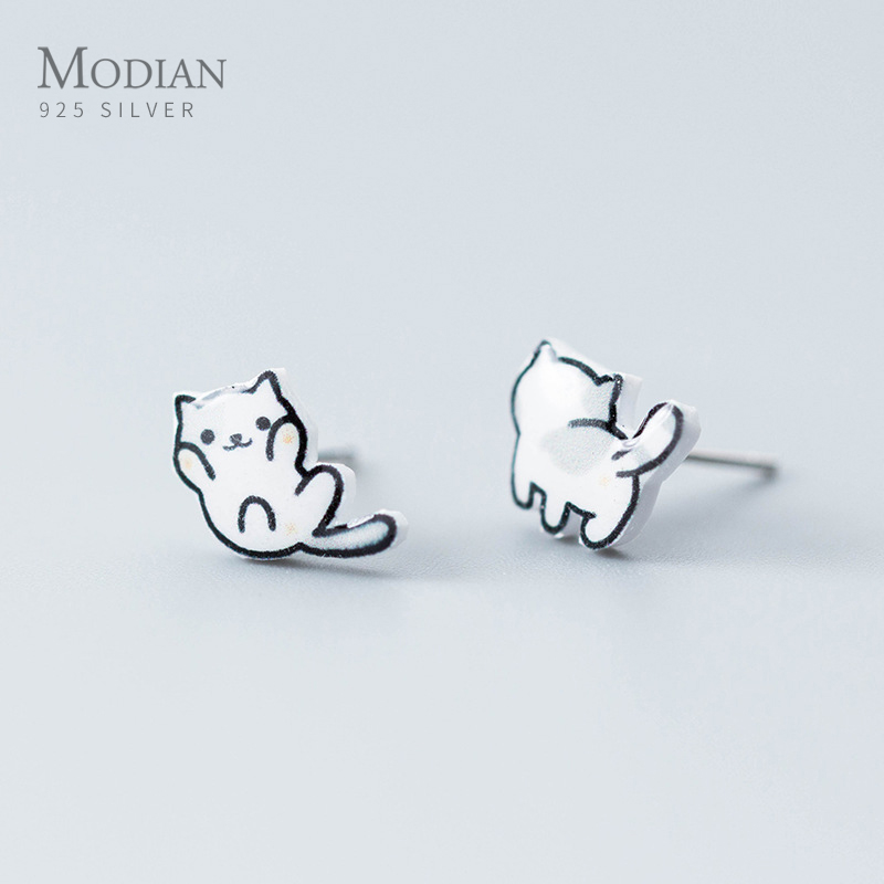 Modian Cute Lucky Cat Small Stud Earrings For Girl Kid 925 Sterling Silver Lovely Jewelry Gifts Fashion Accessories Brincos