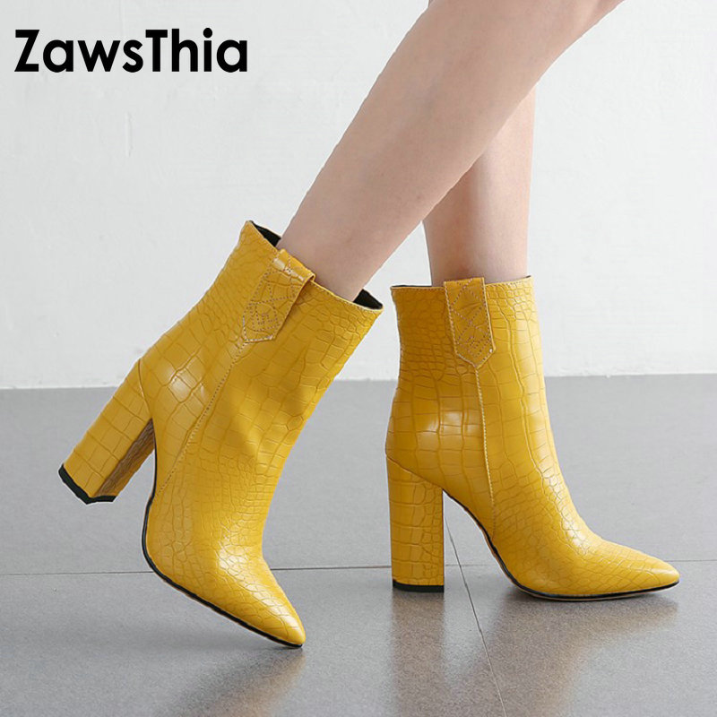 ZawsThia 2019 new winter autumn yellow brown white woman <font><b>boots</b></font> <font><b>block</b></font> high <font><b>heels</b></font> shoes fashion women <font><b>ankle</b></font> <font><b>boots</b></font> booties botas image