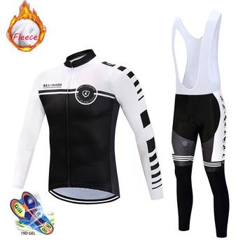 цена на 2020 Winter Thermal Fleece Cycling Clothes Men Jersey Suit Outdoor Bike MTB Clothing Bib Pants Set