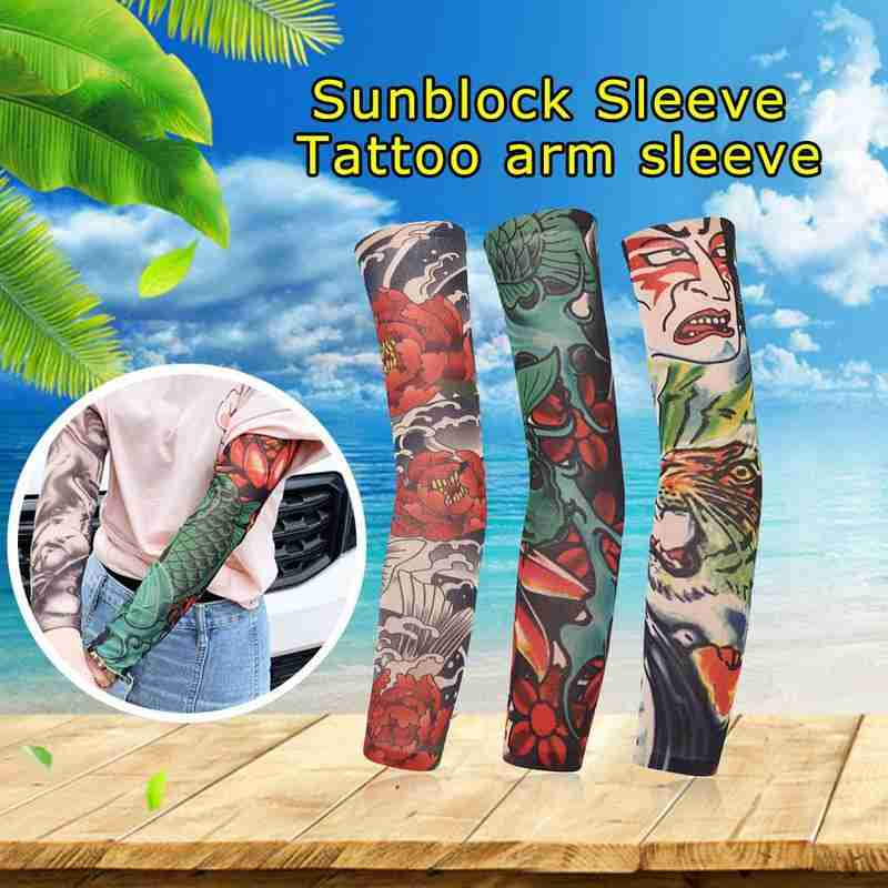 1 Pcs New 3D Tattoo Printed Arm Cuffs Outdoor Sports Riding Sun Cuffs Seamless Unisex Thin Sleeve