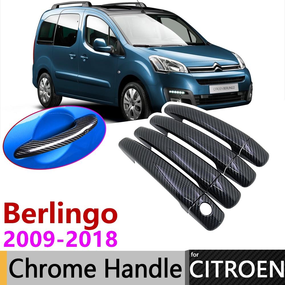 Black Carbon Fiber Exterior Door Handle Cover For Citroen Berlingo 2008~2018 2009 2010 Car Accessories Stickers Trim Set Chrome