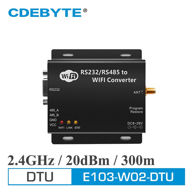 E103-W02-DTU Wifi Serial Server RS232 RS485 CC3200 433mhz 100mW IOT Uhf Wireless Transceiver Module 433 MHz Transmitter Receiver