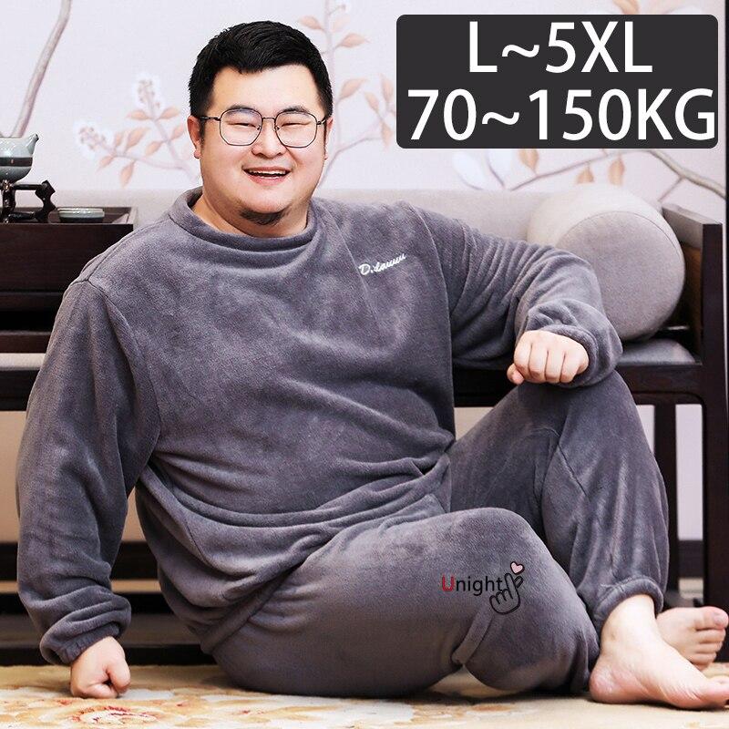 Pijama de invierno grueso de franela para hombre, 5XL talla grande, forro polar, largo