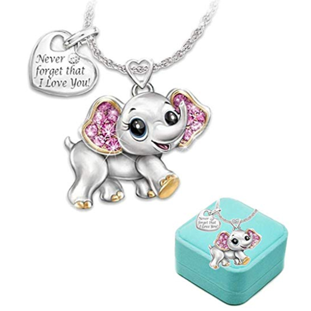 Kids Elephant Necklace Girls Cute Animal jewelry 'Never Forget That I Love You' Heart Pendant Gift for Teen kids Christmas gifts image