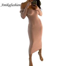 Skinny Ribbed Sweater Winter Dress Women Slash Neck Off Shoulder Long Sleeve Dresses Slim Sexy Vestido Longo Robe Femme 2019 New drop shoulder scalloped ribbed sweater