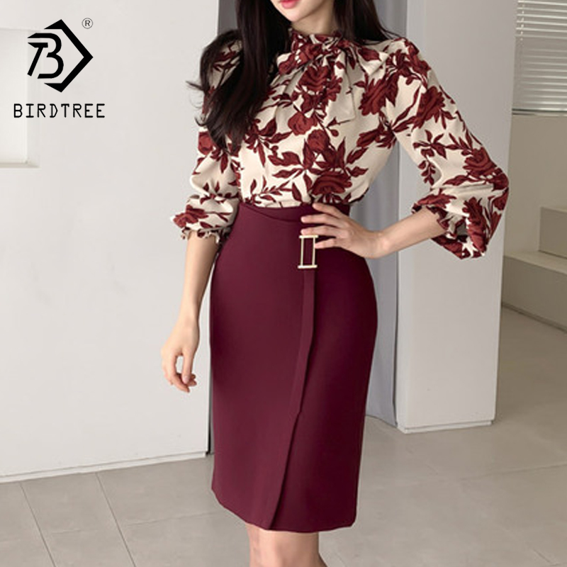 2020 Spring Women Printed Lantern Sleeve Shirt Slim Fit Hip Mid Long Skirt Two Piece Set Skirt T01303M