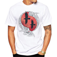2020 Custom Men t-shirt Fashion Odin t-shirty Hugin i Munin podkoszulek z nadrukiem Shrits Hipster Basic Tops(China)