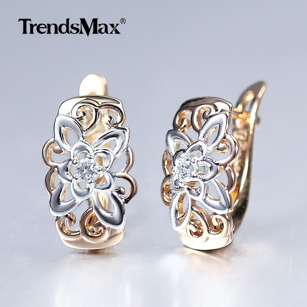 New Cut Out Flower Square Drop Earrings Natural Cubic Zircon Stone for Women 585 Rose White Gold Stud Earrings 2020 Trend GE299