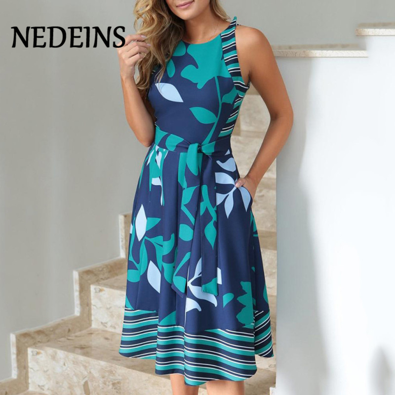 NEDEINS 2020 Women Summer Printed Dress O Neck Sleeveless Boho Sashes A Line Dress Casual Ladies Beach Dress Sexy Robe