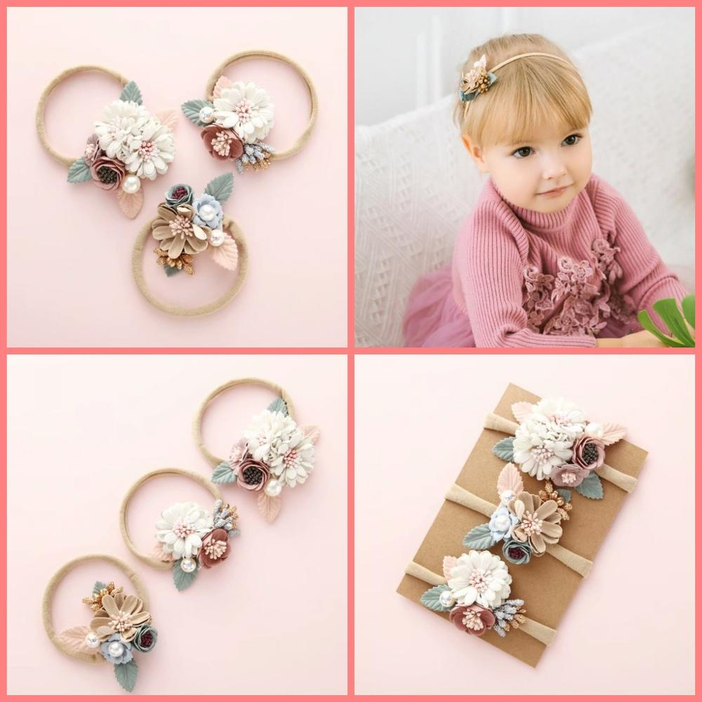 Baby Girls Flower Bows Nylon Handmade Headband Hair Accessories Hair Band