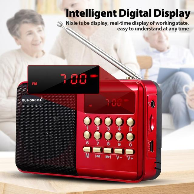 Mini Portable Radio Handheld Rechargeable Digital FM USB TF MP3 Player Speaker Devices Supplies 5