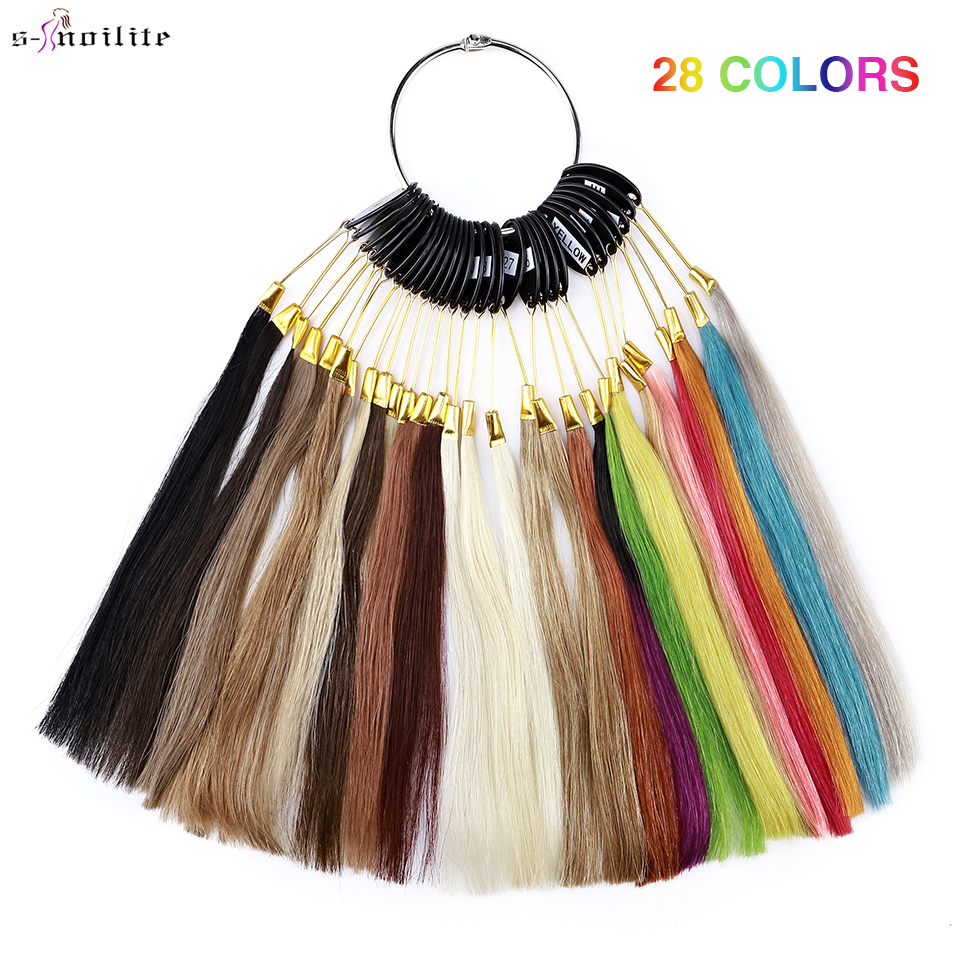 S-noilite 28Colors/Set Hair Rings 100% Human Hair Color Ring Hair Extensions Salon Supply Hair Dyeing Sample Hair Strands Test