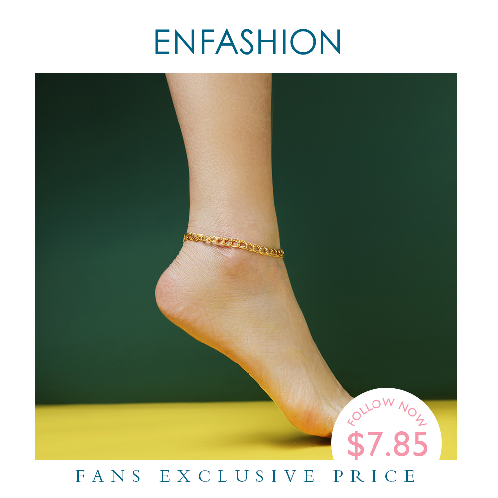 ENFASHION Simple Link Chain Anklet Bracelet Gold Color Stainless Steel Double Circle Anklets For Women Foot Fashion Jewelry 2020