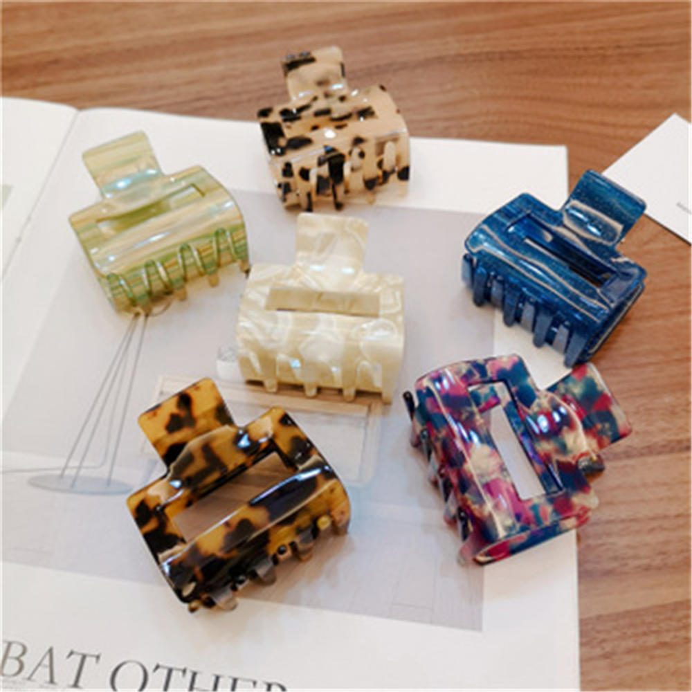 New Fashion Women Solid Color Large Size Rectangle Acrylic Hair Clip Multiple Colorful Geometry Hair Crab Hair Claws For Girls