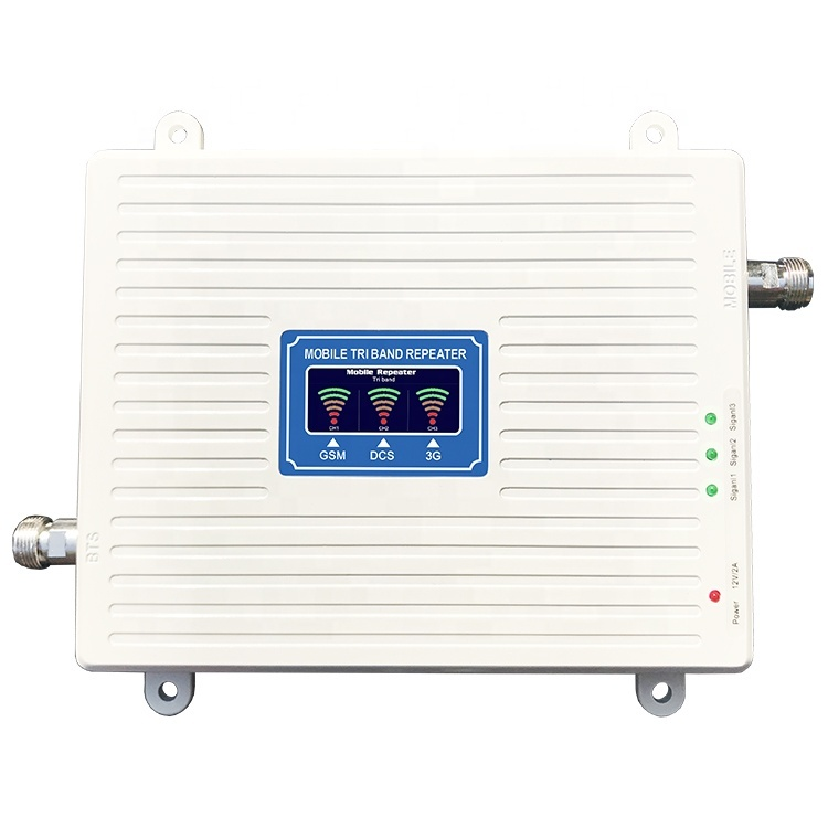 Tri Band 900 1800 2100 Output 20dbm Cell Phone Booster Gsm 2g Wcdma 3g Lte 4g 3 Lcd, View Signal Repeater, Ays / Oem Product