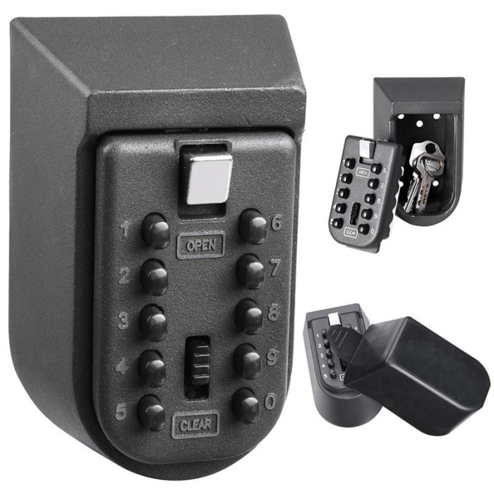 Key Safe Box Aluminium Alloy Wall Mounted Home Safety Password Security Lock Storage Boxes With Code BM1002