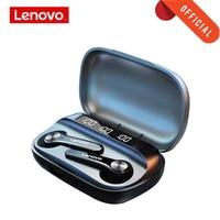 Lenovo Bluetooth 5,0 Kopfhörer Drahtlose Kopfhörer QT81 Stereo Sound Headset Touch-Taste mit 1200mAh Lade Fall Mobile power