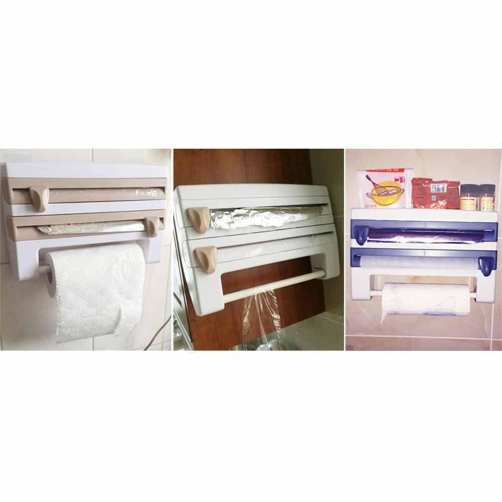 المحمولة المطبخ غشاء تغليف زجاجة صلصة تخزين الرف الحاويات حامل المناشف الورقية مع شفرات قاطعة لوازم المطبخ المنزل
