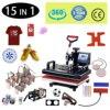 Máquina de prensado en caliente de sublimación multifuncional Combo 15 en 1, impresora de transferencia de calor para camisetas, tazas, tapas, balones de fútbol, botellas, bolígrafos y zapatos