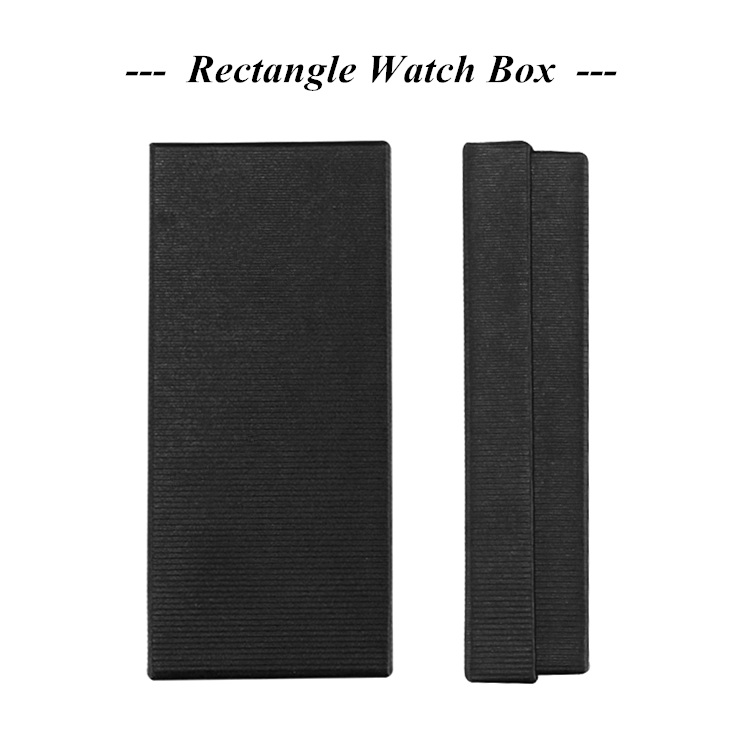 No Logo Watch Box Black Paper Watch Case Rectangle boite montre Wrist Watch caja para reloj