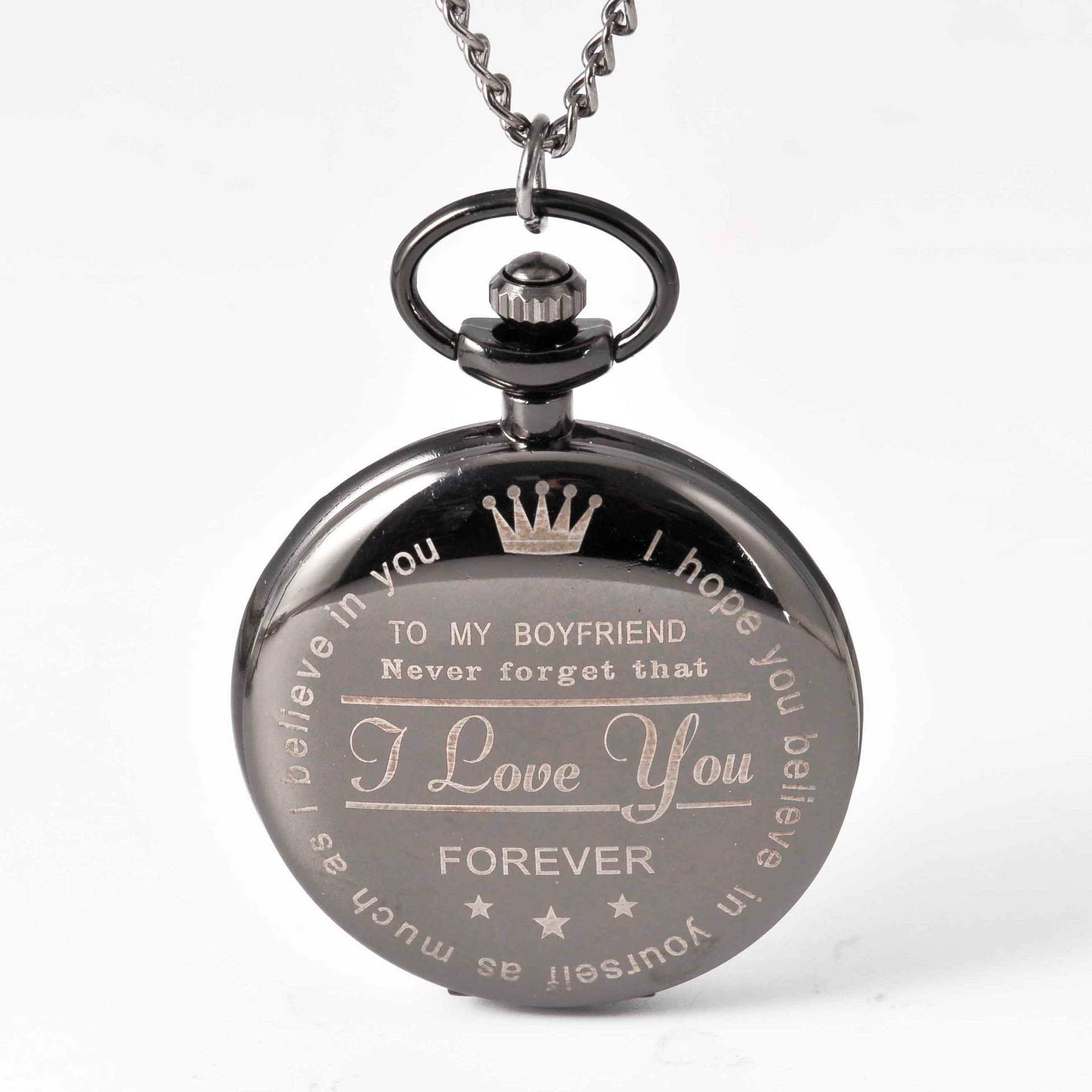 Pocket & Fob Watches To My Boy Friend  Pocket Watch Necklace I Love You Forever Quartz Watch  for  Lover's  Gift Watch