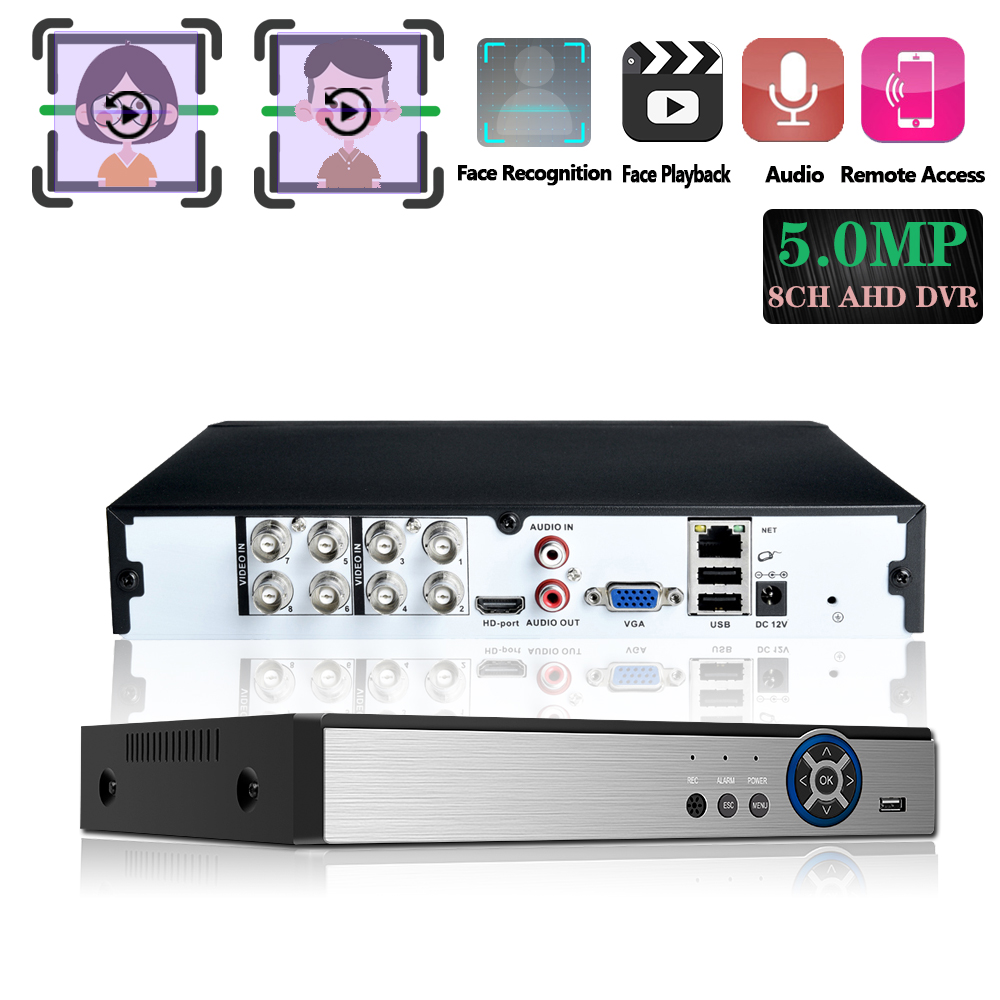 8 Channels 5.0mp H.265+ DVR Monitor Security NVR 5MP Recorder DVR P2P Hard Disk Video Recorder Digital Analog 1 Machine 6 Uses