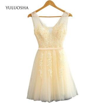YULUOSHA Women Dress Burgundy Bridesmaid Dresses A-Line Sleeveless Bridesmaid Dresses Short Red Vestidos De Fiesta De Noche